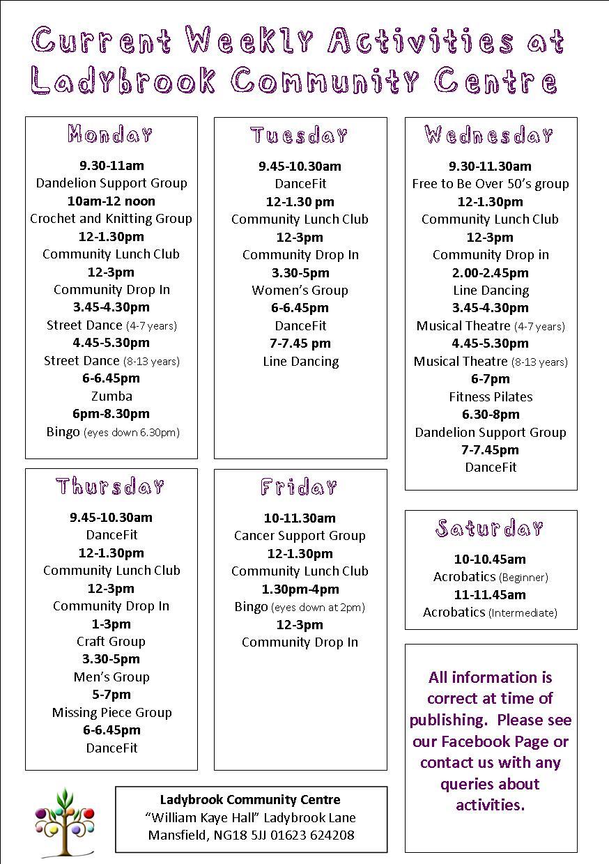 weekly activities May 19
