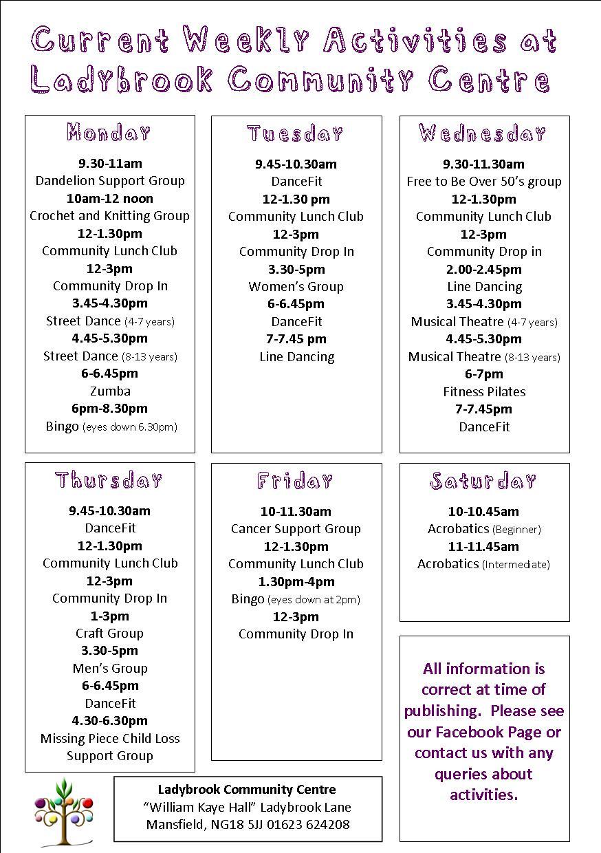 weekly activities feb 19