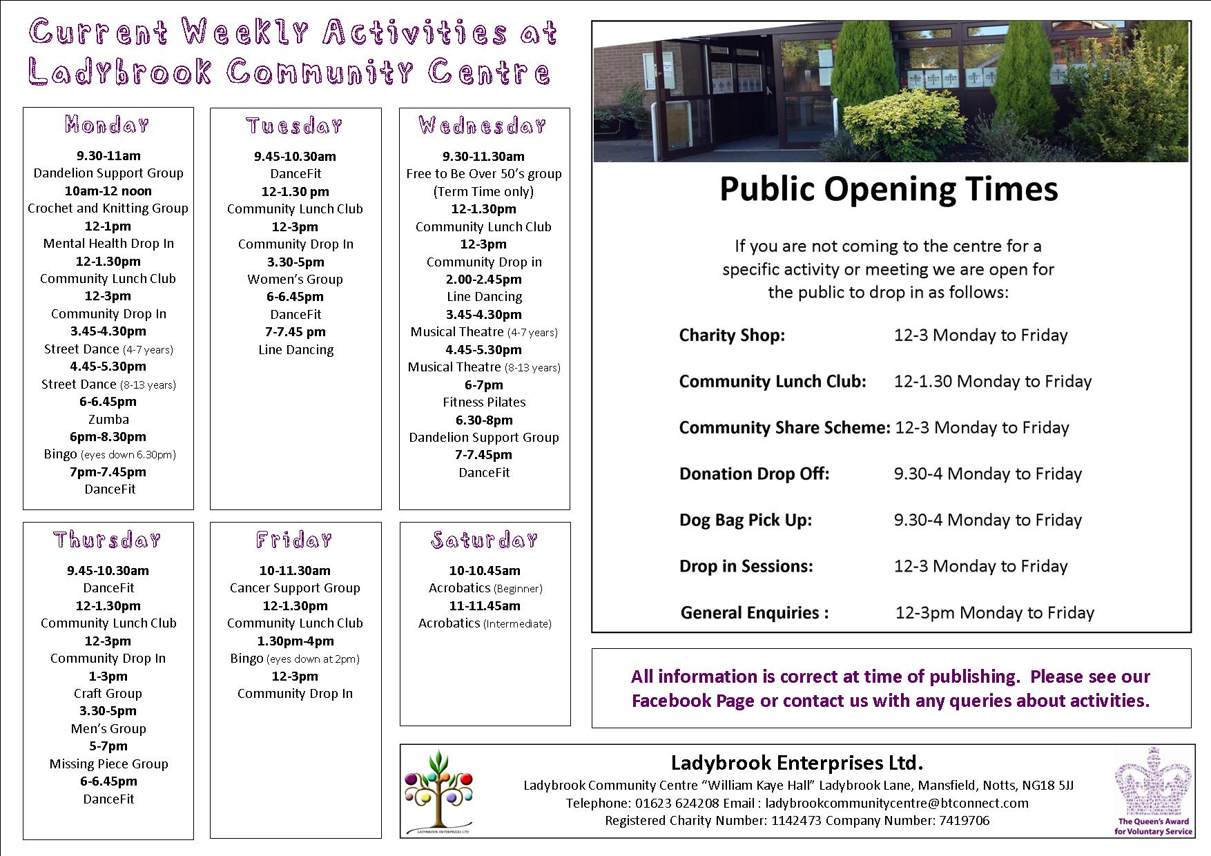 weekly activities with opening hours July 2019