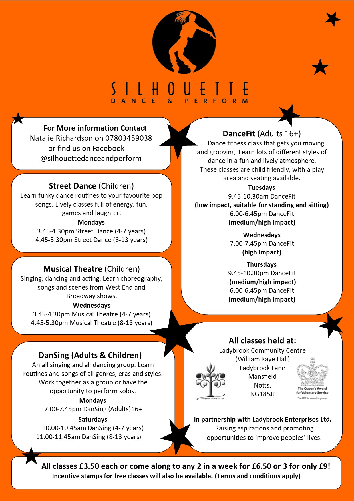 silhouette new classes information orange